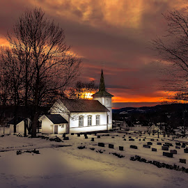 Konnerud Church by Geir Blom - Buildings & Architecture Places of Worship ( graveyard, sunrise, church, winter, morning )