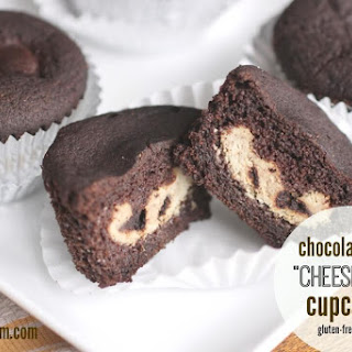 Chocolate Chip Cheesecake-Filled Chocolate Cupcakes (Gluten, Egg, and Sugar Free w/ Dairy-Free Option)