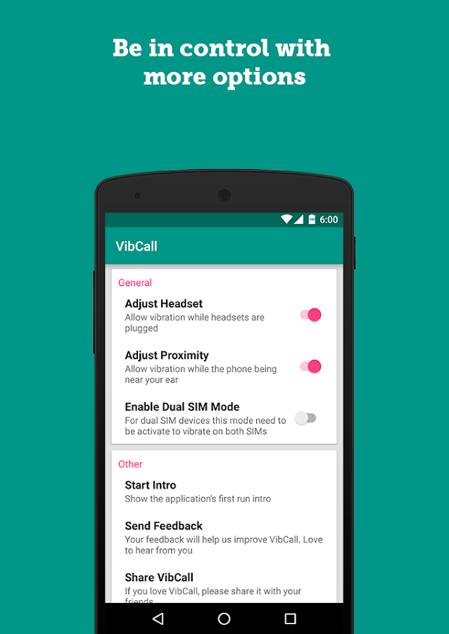 VibCall - Vibrate on answer- screenshot