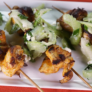 Buffalo Chicken Kebabs with Celery Blue Cheese Salad Recipe