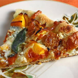 Roasted Butternut Squash and Caramelized Onion Pizza with Gorgonzola and Crispy Fried Sage.
