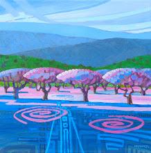 "Photo: ""Orchard Rhythms"", acrylic on canvas, 12"" x 12"", by Nancy Roberts, copyright 2015."
