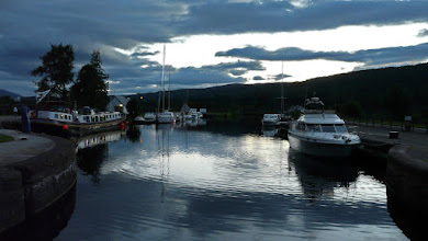 Photo: Top of canel locks at night at Fort Augustus