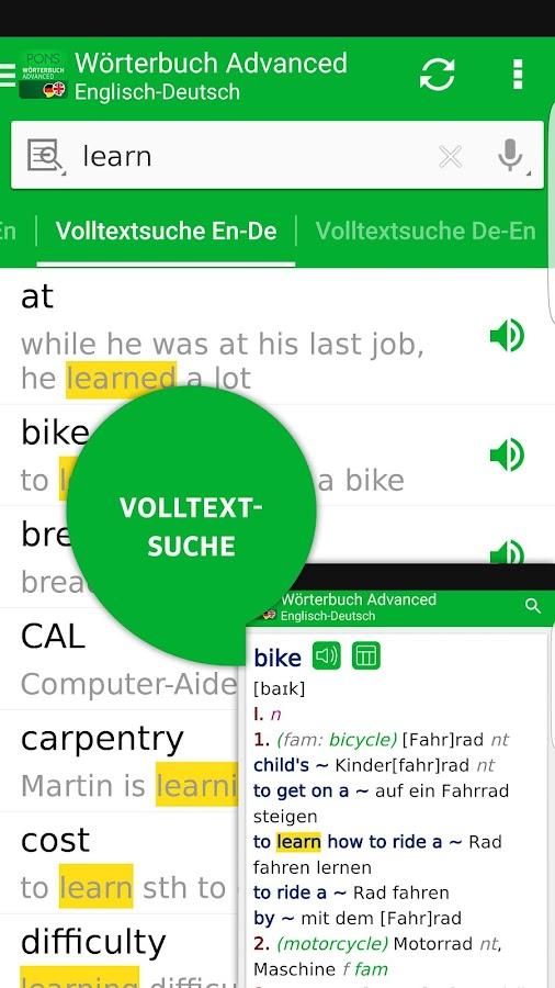 Pons w rterbuch englisch android apps auf google play for Ubersetzung englisch auf deutsch