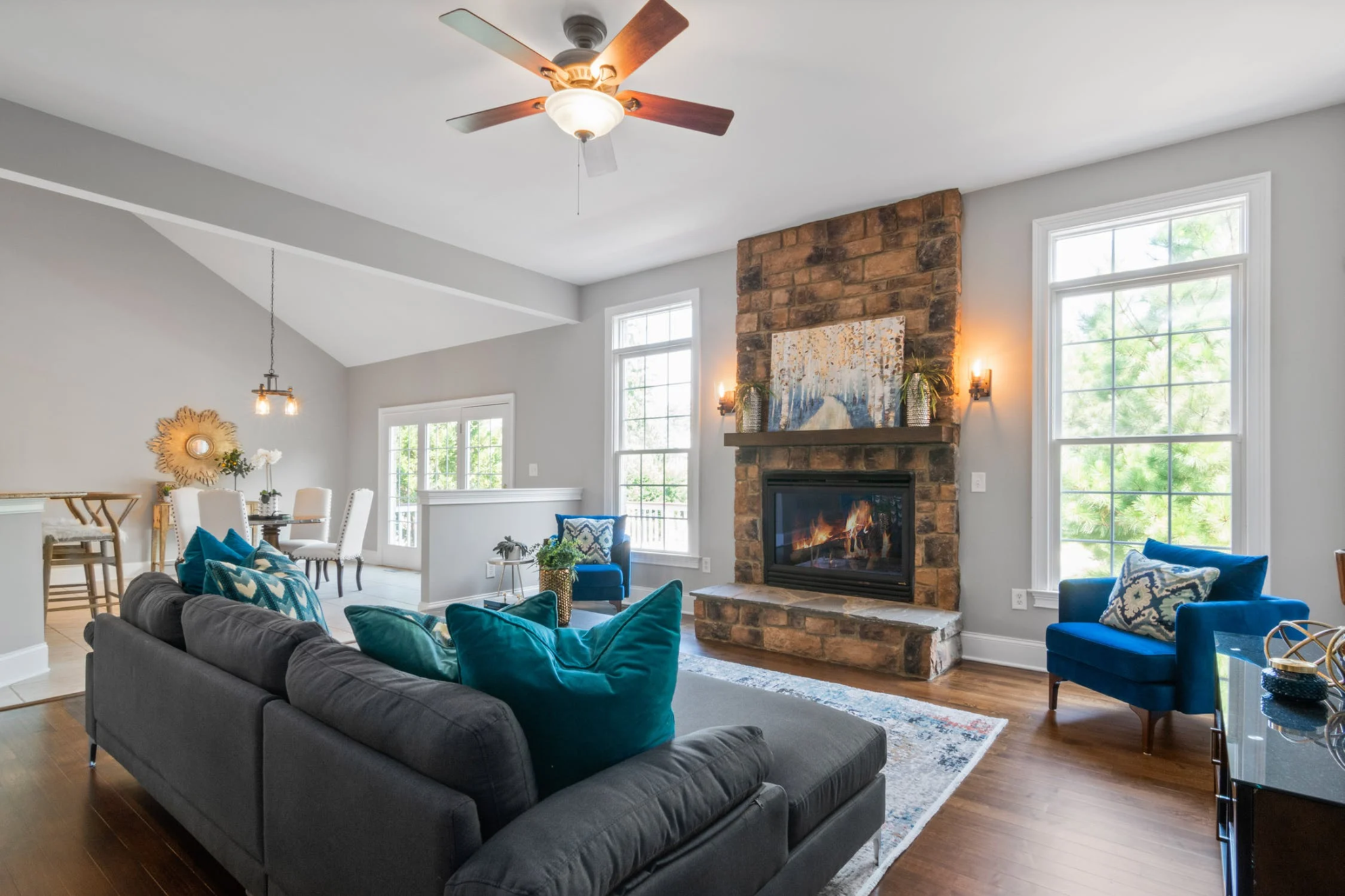Contemporary living room with multiple light sources; interior decorating mistakes, MGSD