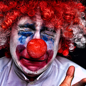 Agony of the Clown by Gregg Eisenberg - People Portraits of Men ( expression, sad, funny, goofy, white background, crying, cry, red nose, silly, depressed, upset, emotional, clown, tragic, circus )