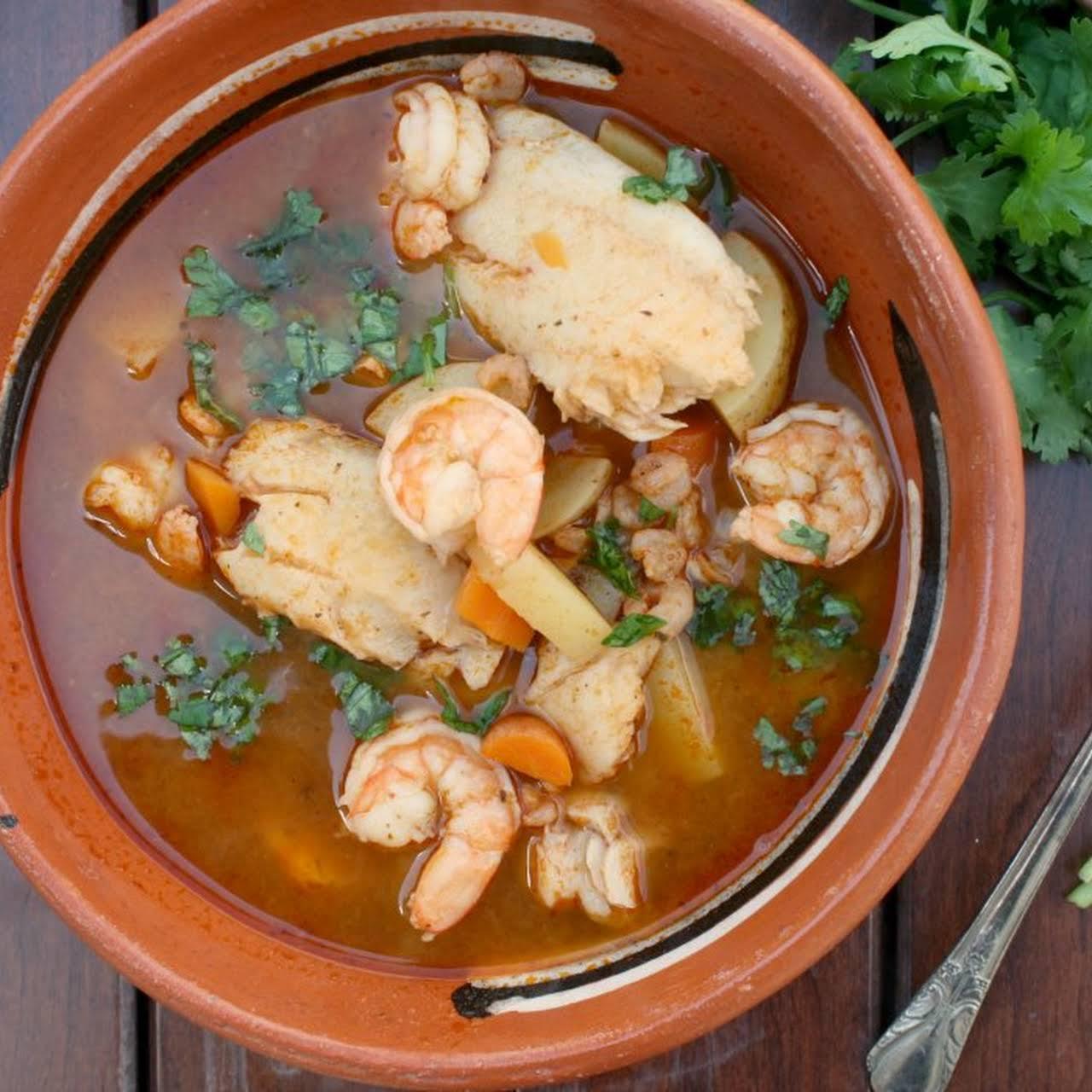 Caldo de Camaron y Pescado (Brothy Shrimp & Fish Soup)