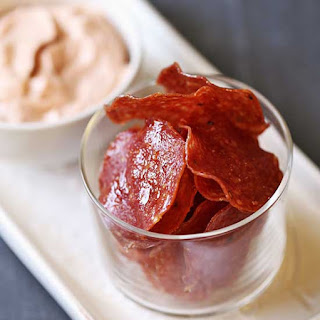 Salami Chips with a Spicy Dip.