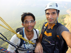 Photo: Ajit and I comfortable on a full hanging belay after P2 on the upper half of Duke's Nose, Lonavla, Maharashtra, India. The crux pitch follows.