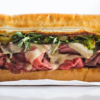 Roast Beef Sandwich with Charred Scallions and Pickled Jalapeños.