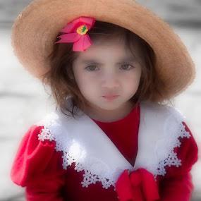 Little Girl in Red by Anne Marie Hickey - Babies & Children Children Candids ( child, girl, red dress, hat )