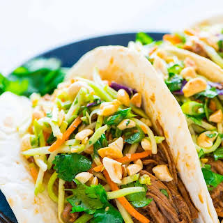 Slow Cooker Asian Pulled Pork Tacos.