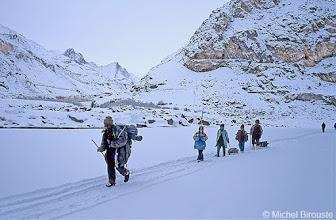 Photo: premières rencontres sur la Chadar (nom que prend la Zanskar gélée)
