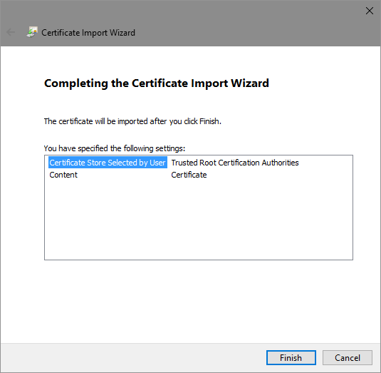 Completing Certificate Import