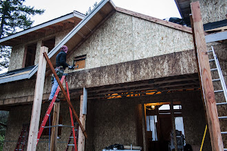 Photo: Installing LVL blocking for the hanger that will hold the porch glulam