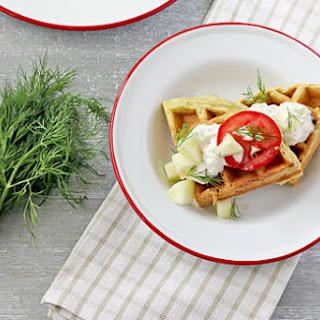 Falafel Waffles with Tzatziki Sauce.