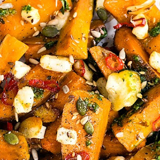 Honey-roasted Sweet Potato and Squash with Halloumi