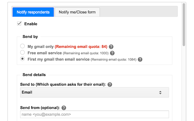 Advanced Form Notifications - Google Forms add-on