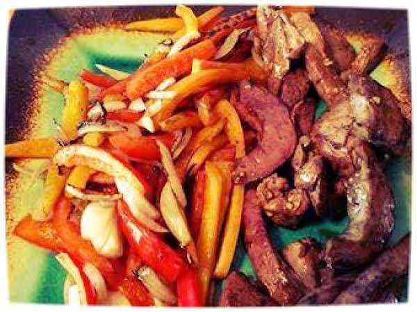 Grilled Venison Heart With Peppers And Onions