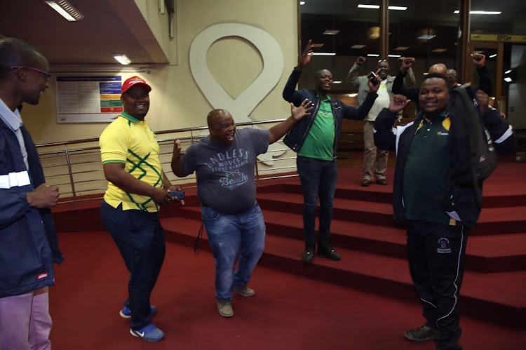 ANC members celebrate after the Pietermaritzburg High Court on Friday granted an interdict to to stop the party's provincial elective conference this weekend.
