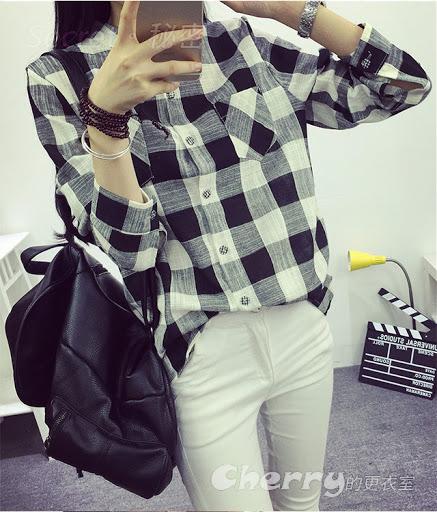 韓版透氣休閒單排扣上衣格子襯衫長袖襯衫