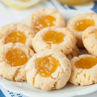 Grain-free Lemon Curd Thumbprint Cookies.