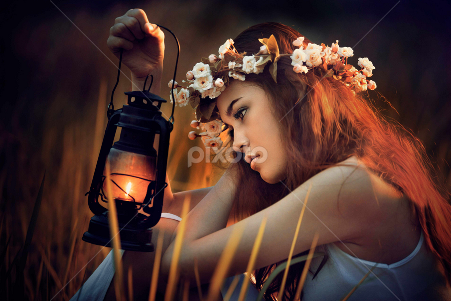 running out of fuel by Ivan Lee - People Portraits of Women ( canon, lantern, model, girl, night, beauty, light,  )