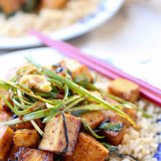 Baked Tofu Scallion Stir Fry.