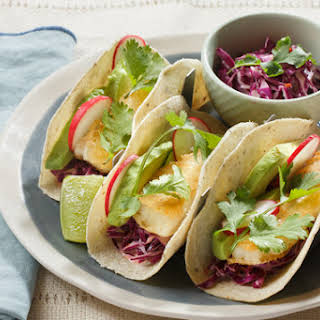 Crispy Cod Tacos with Chipotle-Cabbage Slaw.