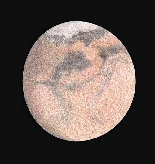 Photo: Mars le 21 juin 2018, à 3h00 TU.  T400 à 600X en bino, avec et sans filtre rouge.  La tempête de poussières à transformé Solis Lacus et son environnement.  Un nouveau foyer de tempête se développe juste à côté de Solis Lacus.