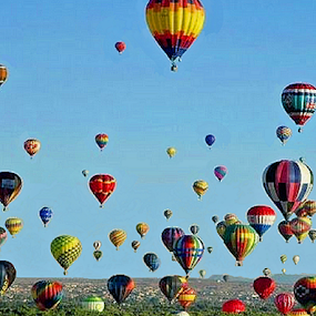 Mass Ascencion by Beverly Lee - Transportation Other ( hot air, flight, colorful, colors, albuquerque, balloons, balloon,  )