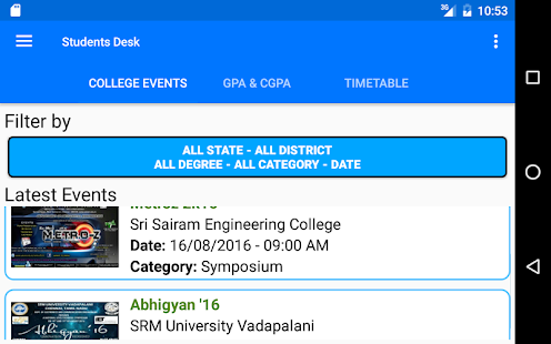 Student's Desk - College Events - GPA/CGPA- screenshot thumbnail