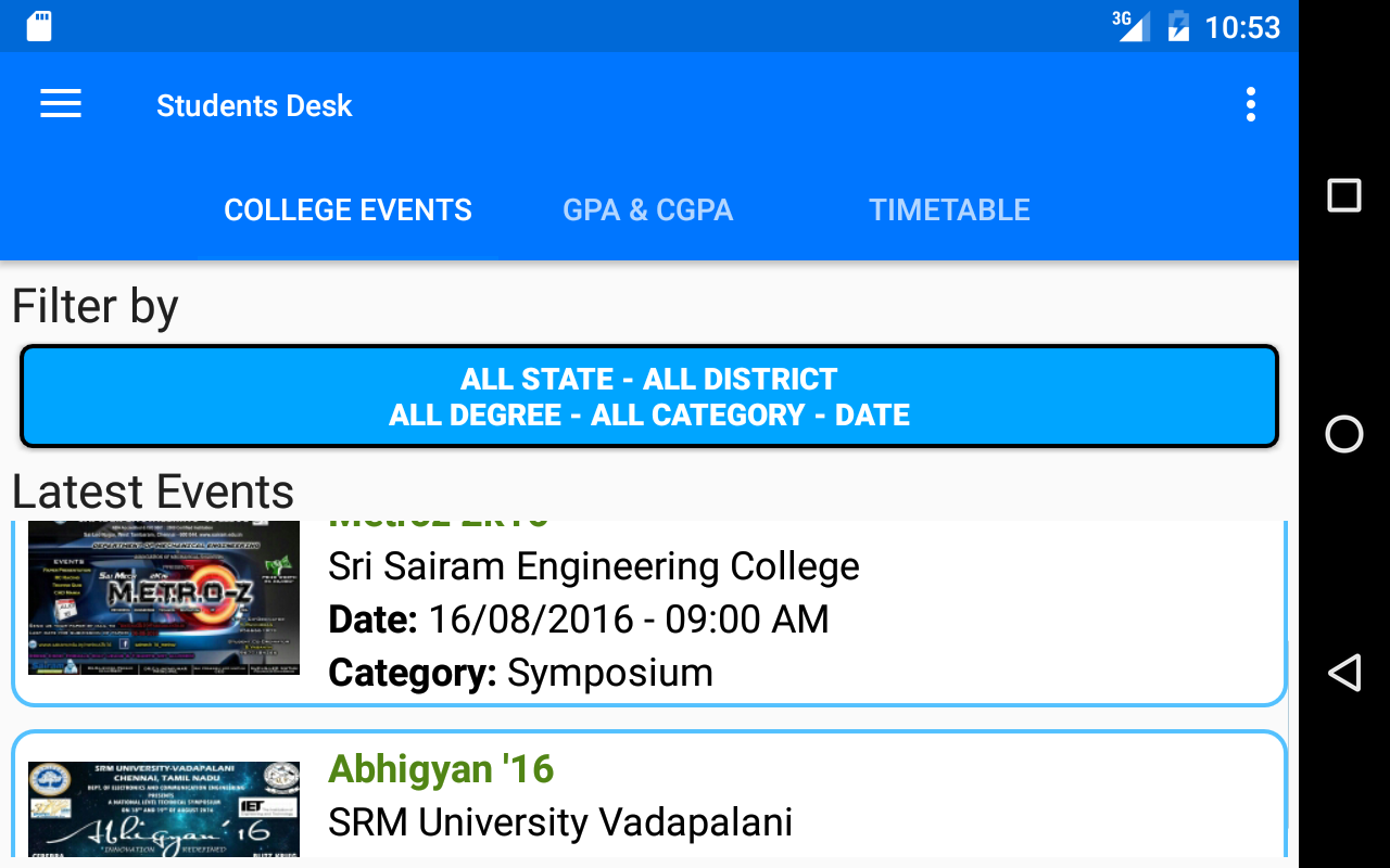 Student's Desk - College Events - GPA/CGPA- screenshot