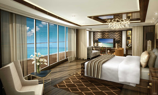 A look at the Regent Suite on Seven Seas Explorer (digital rendering).