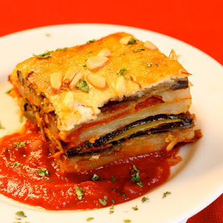 Eggplant Potato Moussaka with Pine Nut Cream Recipe