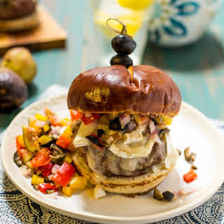 Mediterranean Brie Burger with Olive Fig Relish.