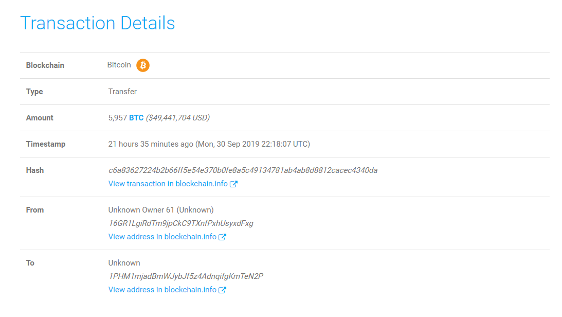 Transacción más relevante realizada por ballena bitcoin durante las últimas 24 horas, por concepto de 5957 BTC.