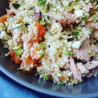 Couscous Salad with Grilled Salmon, Feta and Mint