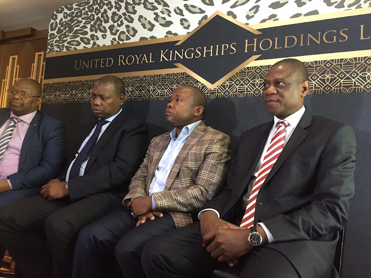 Deputy Minister of Cooperative Governance and Traditional Affairs Obed Bapela, ANC Treasurer General Zweli Mkhize, Minister of Cp-operative Governance and Traditional Affairs Des van Rooyen and Gauteng MEC for Human Settlements Paul Mashatile at the launch of the The United Royal Kingship Holdings (URKH).