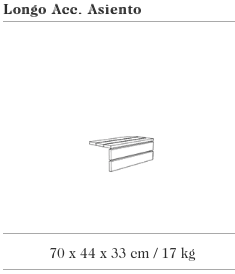 Technische tekening van de Longo Cubo met houten zitvlak uit de collectie van Escofet 1886