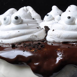 Chocolate Cake with Marshmallow Ghosts.
