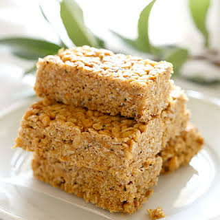 Chewy 5-Ingredient No Bake Peanut Butter Bars.