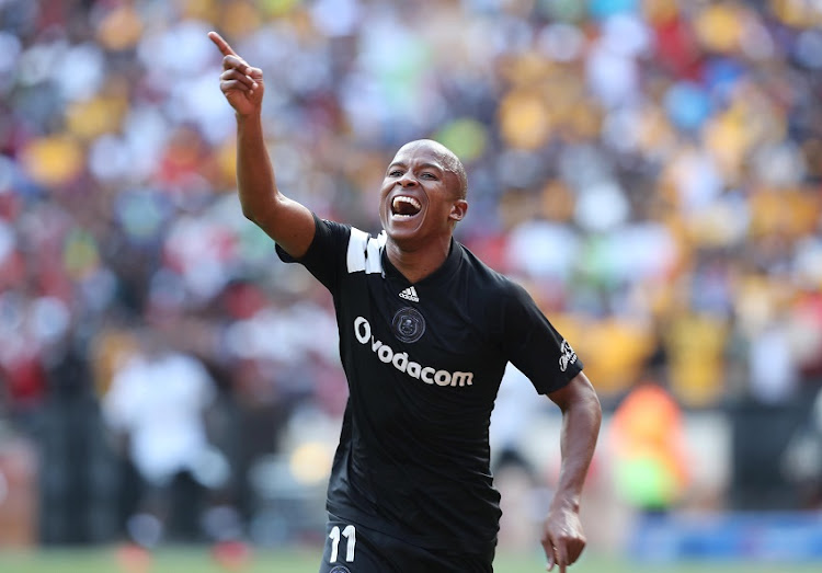 Luvuyo Memela of Orlando Pirates celebrates goal during the 2017/18 Absa Premiership football match between Orlando Pirates and Kaizer Chiefs at Soccer City, Soweto on 03 March 2018.