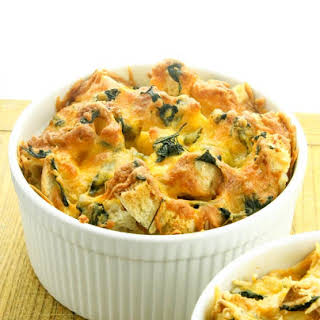 Cheddar Cheese and Spinach Strata.