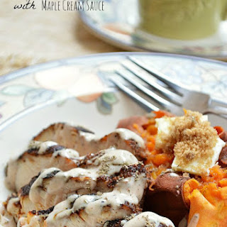 Gluten Free Cinnamon Spice Rubbed Chicken with Maple Cream Sauce.
