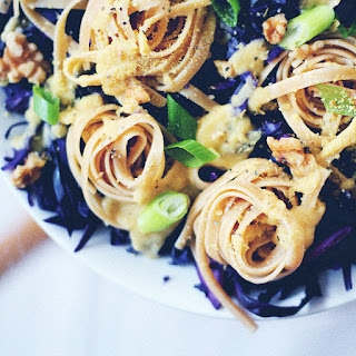 Fettuccine Twirls With Garlicky Purple Cabbage & Cheesy Chickpea Sauce