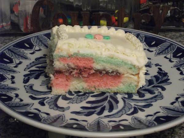 Checkerboard Cake With Rasberry Filling