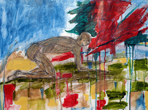 """Photo: The Homeless Man, Brenda Clews, 2012, 24"""" x 18"""", 60cm x 45cm, charcoal, acrylic ink, oil paint on 90lb archival paper.  I want it to be quite painful to look at, to get at feeling this... vulnerability, desperation, a hostile world internally and externally, loss ...perhaps a veteran suffering from PTSD, perhaps this is his nightmare. ...And yet. there is blue sky, patches of green grass in the dry yellow. While he seems almost praying or acknowledging the difficulties of the forces about him in a bowed position, and even insurmountably crawling forward, he also connects deeply to the ground on 'all fours.' In my sense of it, he draws energy for existence itself from the earth.  He is homeless; he has nothing, shorn of all trappings; he is still human. He maintains his dignity."""