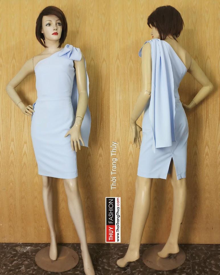 Váy lệch vai phối nơ dáng ôm mặc dự tiệc V626 Thời Trang Thủy