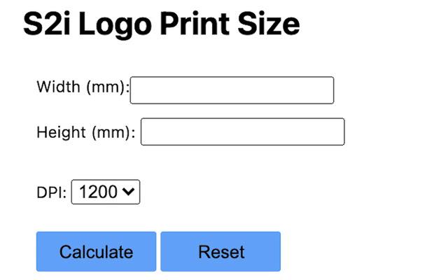 S2i Logo Print Size